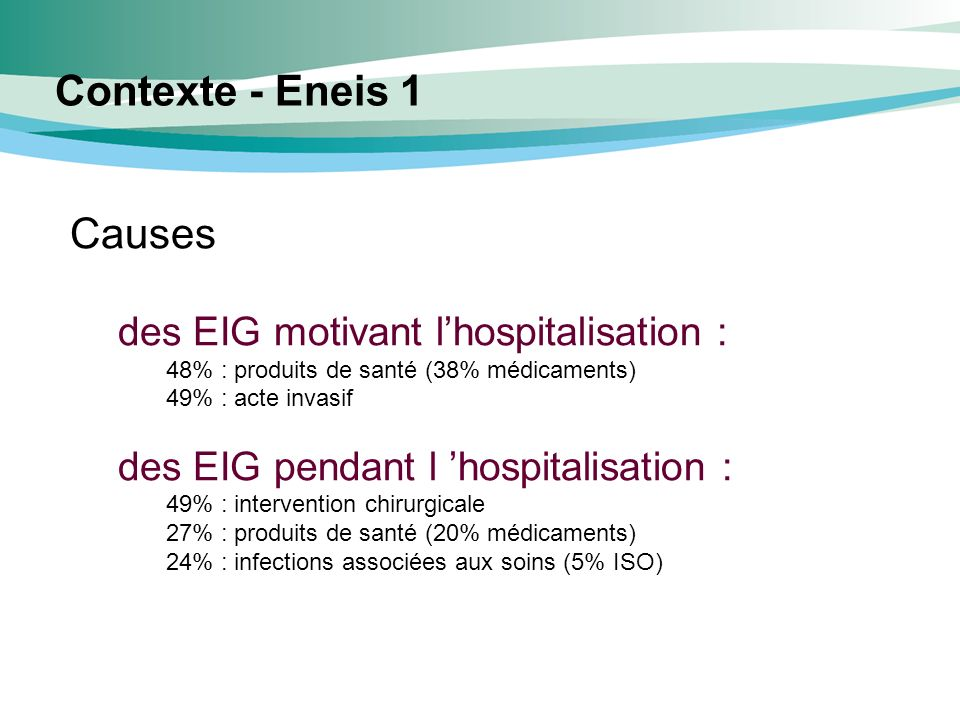 Contexte - Eneis 1 Causes des EIG motivant l'hospitalisation :