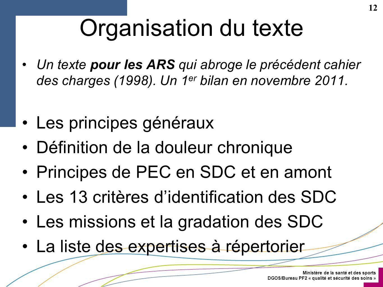 Organisation du texte Les principes généraux