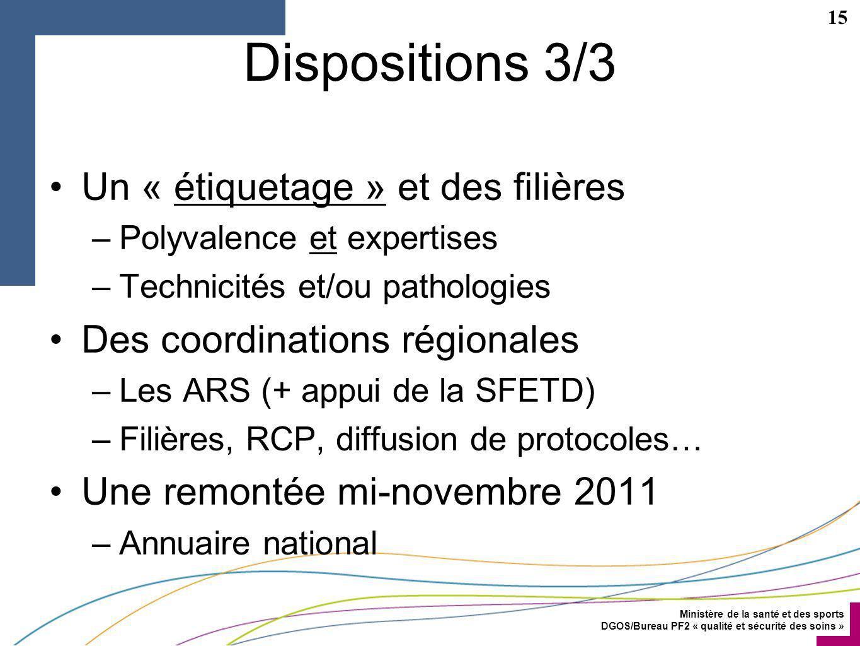 Dispositions 3/3 Un « étiquetage » et des filières