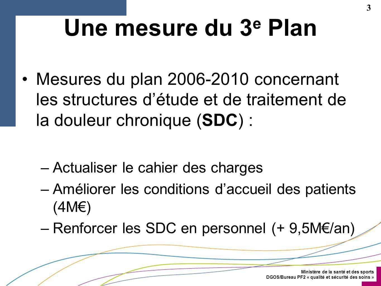 Une mesure du 3e Plan Mesures du plan 2006-2010 concernant les structures d'étude et de traitement de la douleur chronique (SDC) :