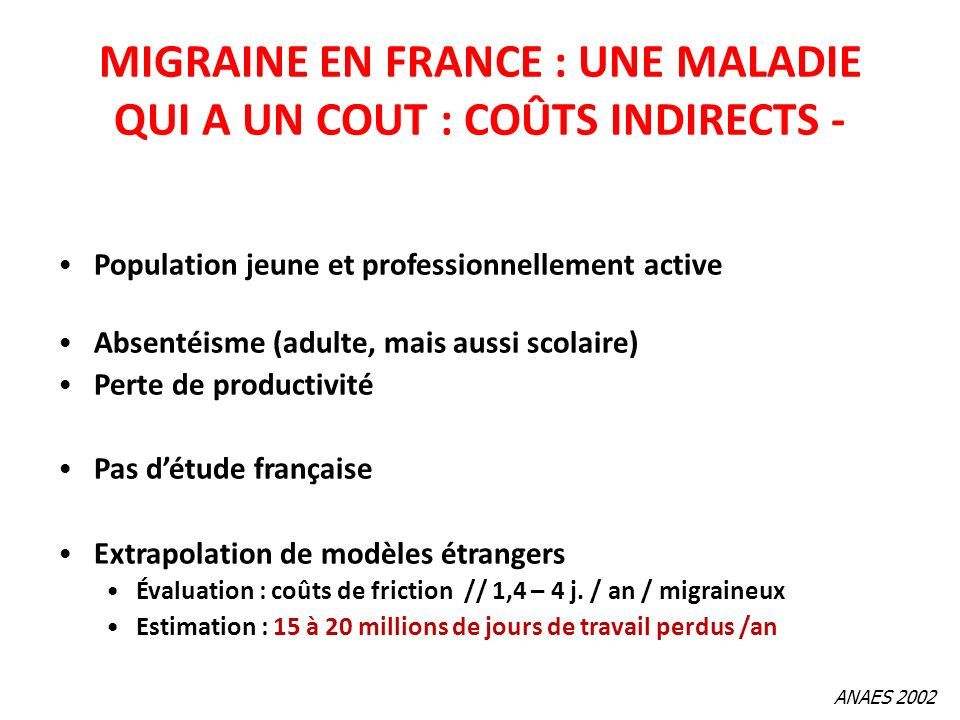 MIGRAINE EN FRANCE : UNE MALADIE QUI A UN COUT : COÛTS INDIRECTS -
