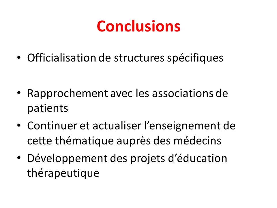 Conclusions Officialisation de structures spécifiques