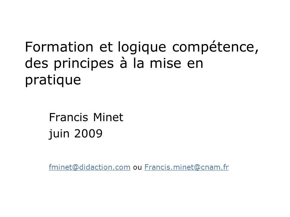 Formation et logique compétence, des principes à la mise en pratique