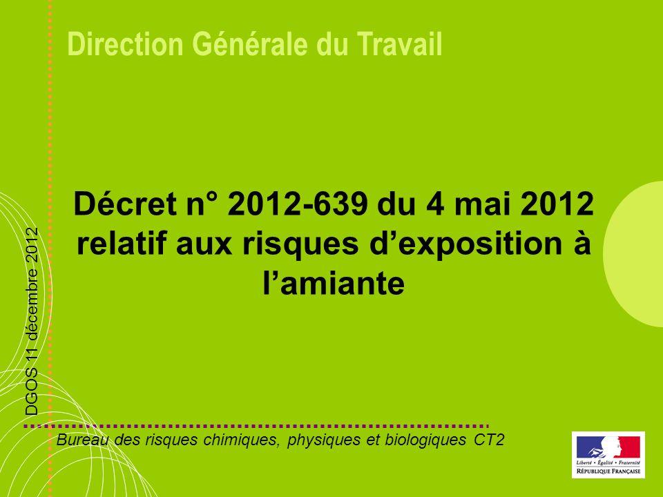 Décret n° 2012-639 du 4 mai 2012 relatif aux risques d'exposition à l'amiante