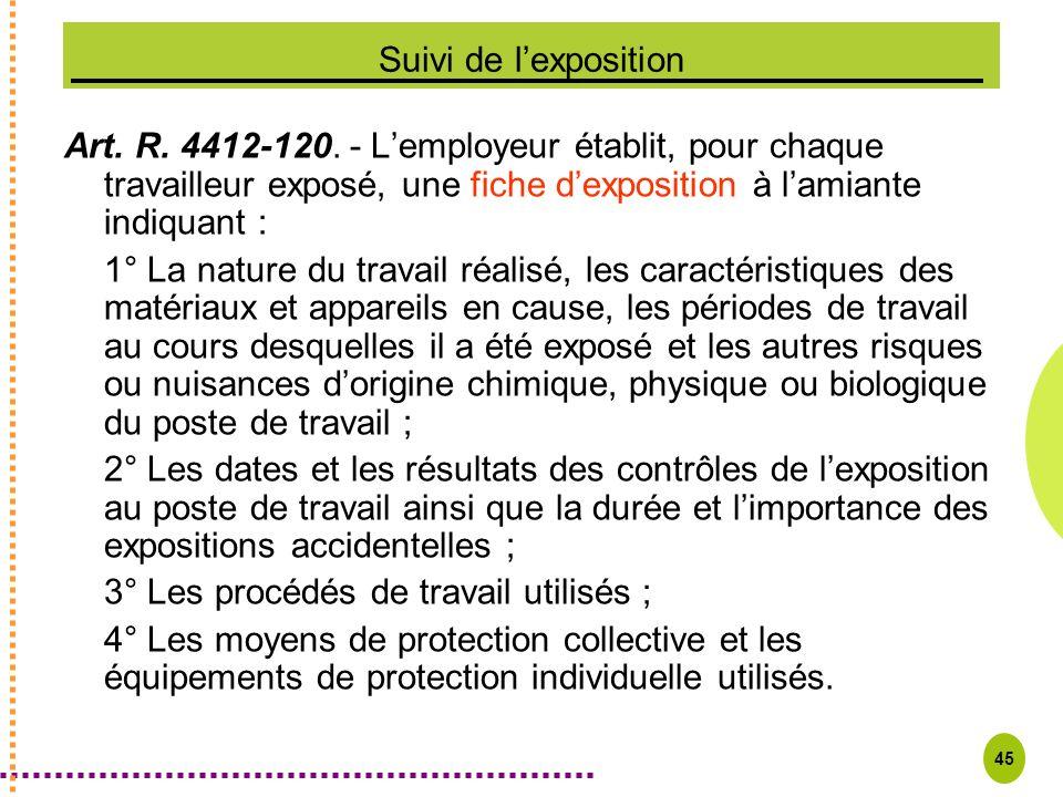 Suivi de l'exposition Art. R. 4412-120. - L'employeur établit, pour chaque travailleur exposé, une fiche d'exposition à l'amiante indiquant :