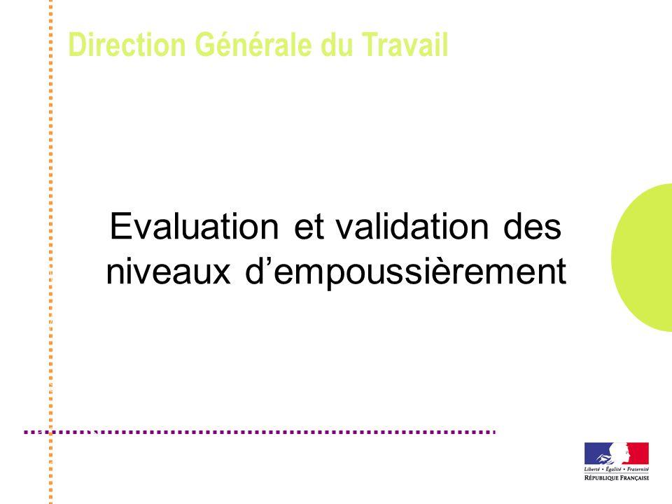 Evaluation et validation des niveaux d'empoussièrement