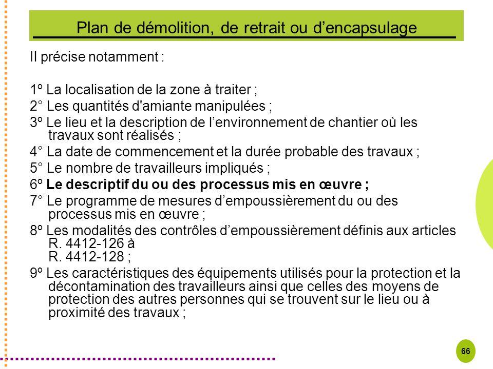 Plan de démolition, de retrait ou d'encapsulage