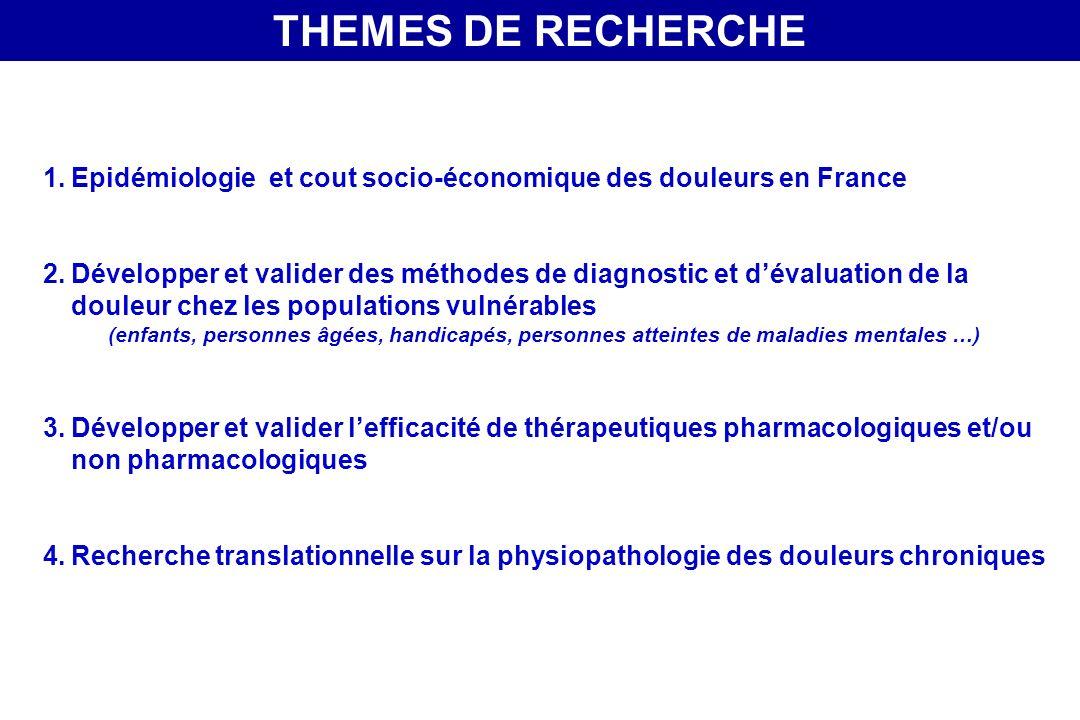 THEMES DE RECHERCHE Epidémiologie et cout socio-économique des douleurs en France.