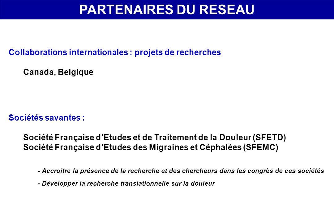PARTENAIRES DU RESEAU Collaborations internationales : projets de recherches. Canada, Belgique. Sociétés savantes :