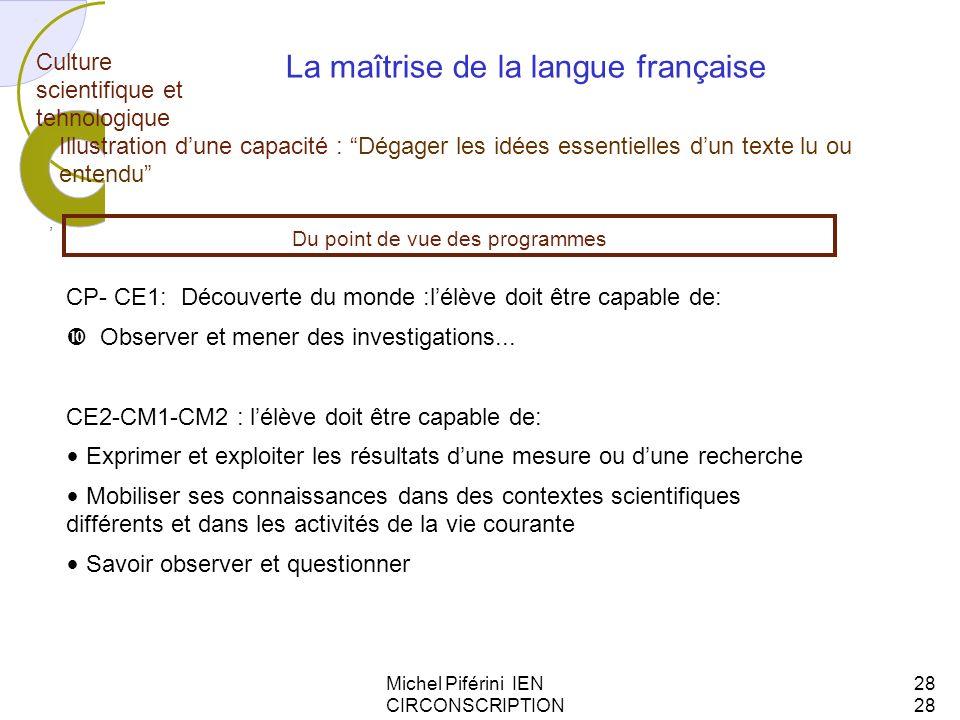 La maîtrise de la langue française