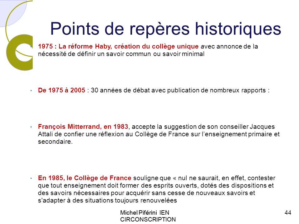 Points de repères historiques