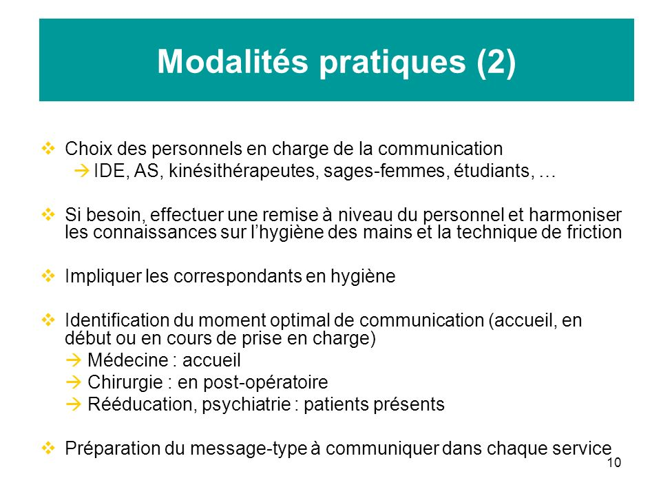 Modalités pratiques (2)