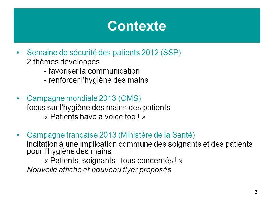 Contexte Semaine de sécurité des patients 2012 (SSP)