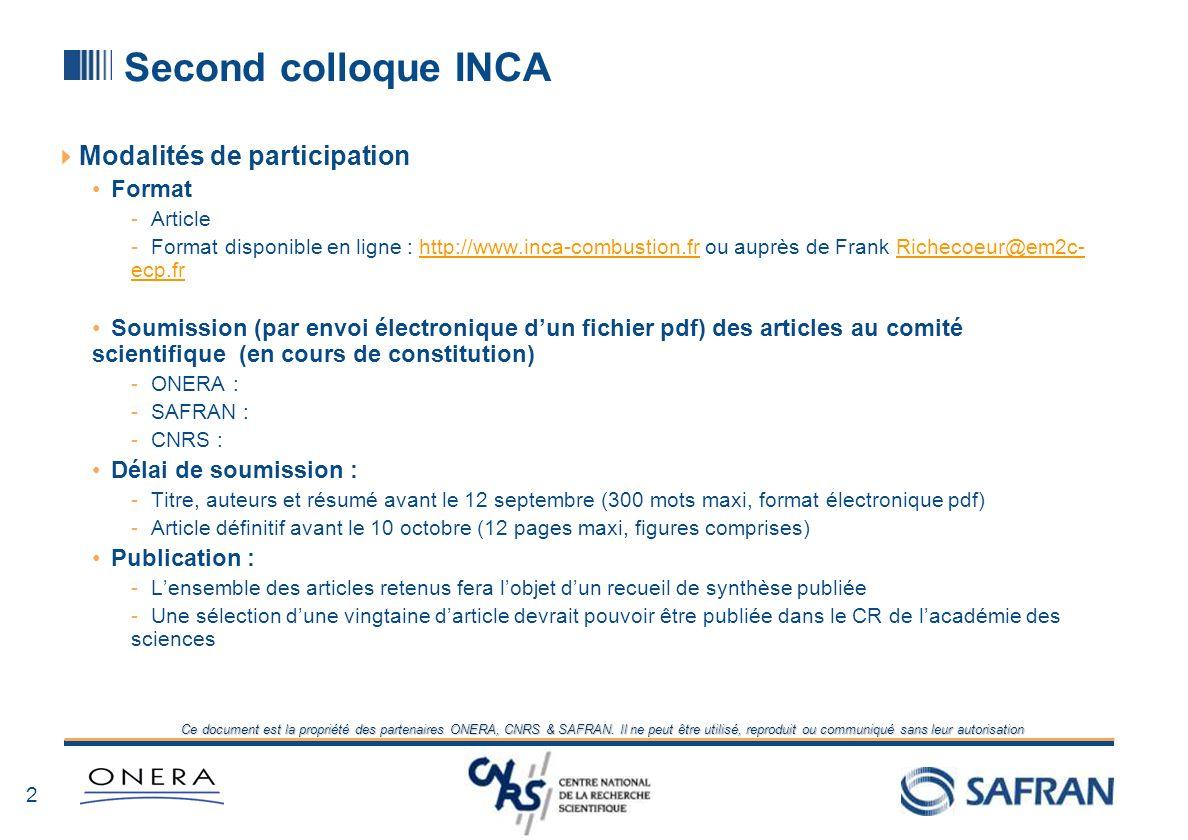 Second colloque INCA Modalités de participation Format