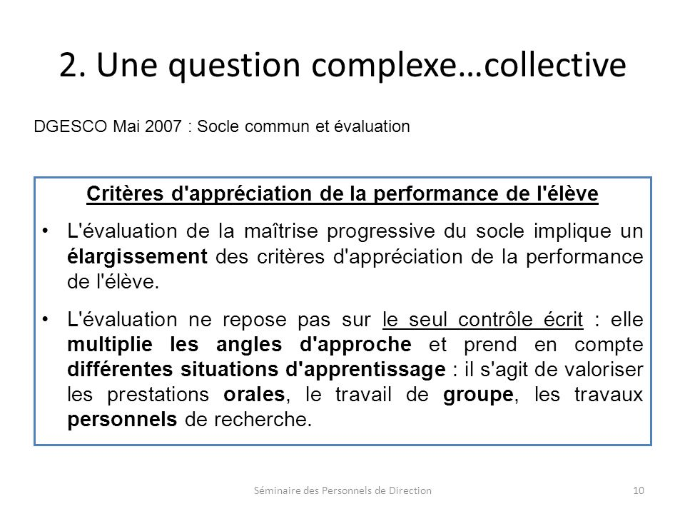 2. Une question complexe…collective