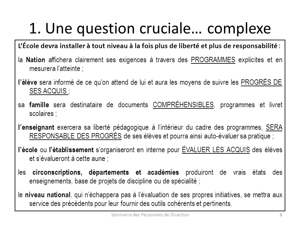 1. Une question cruciale… complexe