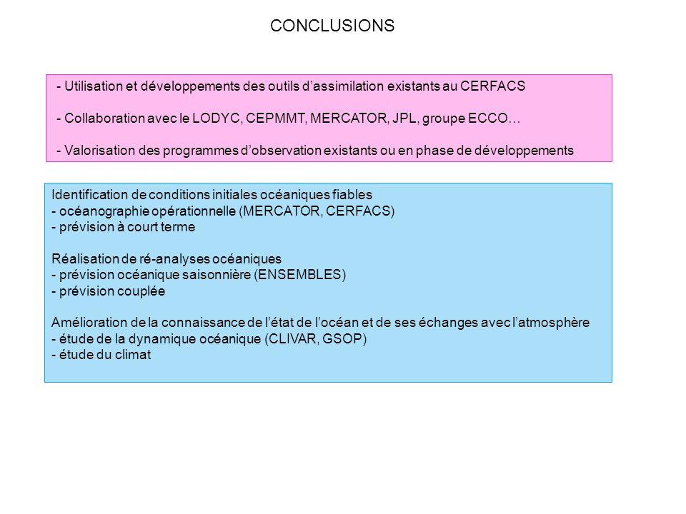 CONCLUSIONS - Utilisation et développements des outils d'assimilation existants au CERFACS.