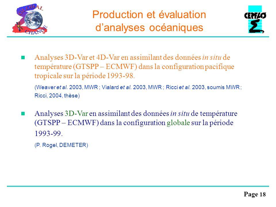 Production et évaluation d'analyses océaniques