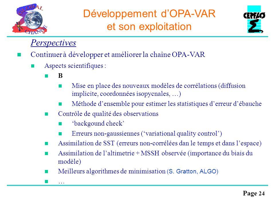 Développement d'OPA-VAR et son exploitation