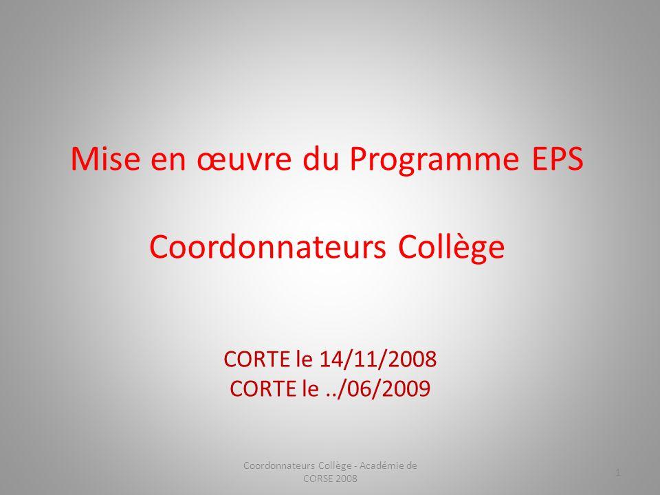 Mise en œuvre du Programme EPS Coordonnateurs Collège