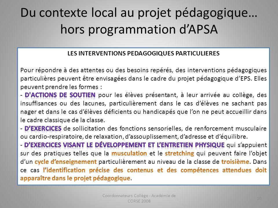 Du contexte local au projet pédagogique… hors programmation d'APSA