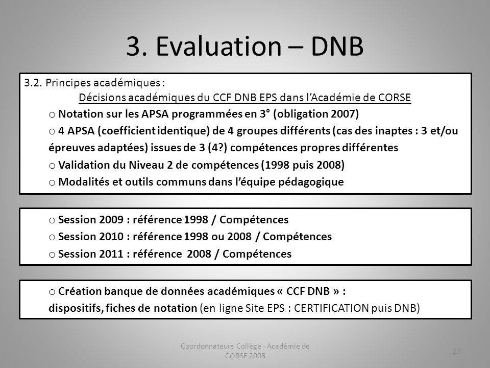 3. Evaluation – DNB 3.2. Principes académiques :