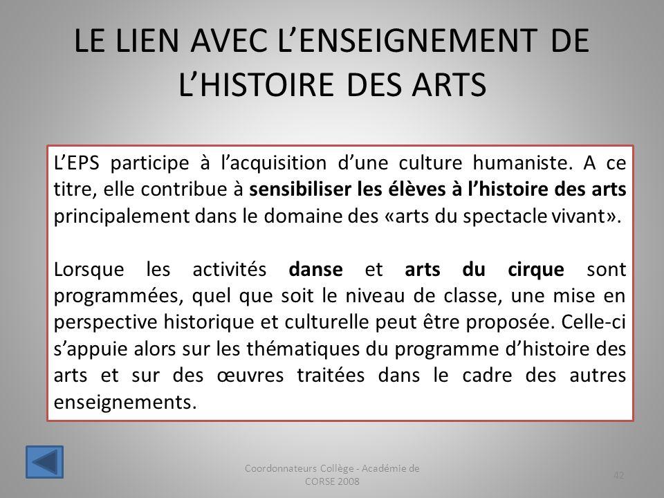 LE LIEN AVEC L'ENSEIGNEMENT DE L'HISTOIRE DES ARTS