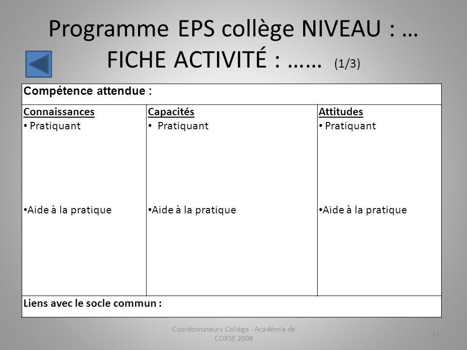Programme EPS collège NIVEAU : … FICHE ACTIVITÉ : …… (1/3)