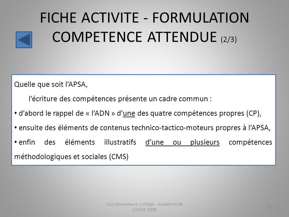FICHE ACTIVITE - FORMULATION COMPETENCE ATTENDUE (2/3)