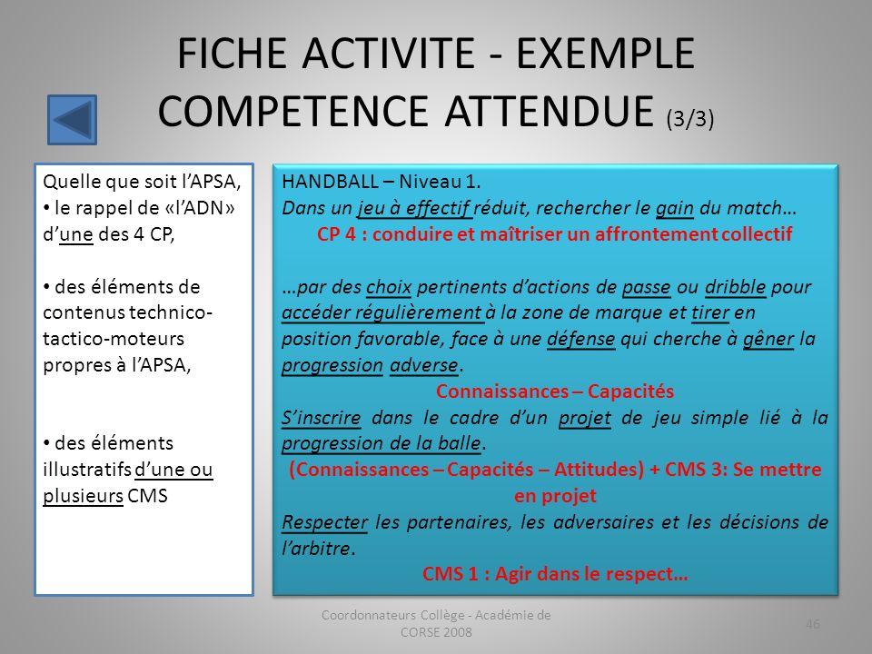 FICHE ACTIVITE - EXEMPLE COMPETENCE ATTENDUE (3/3)