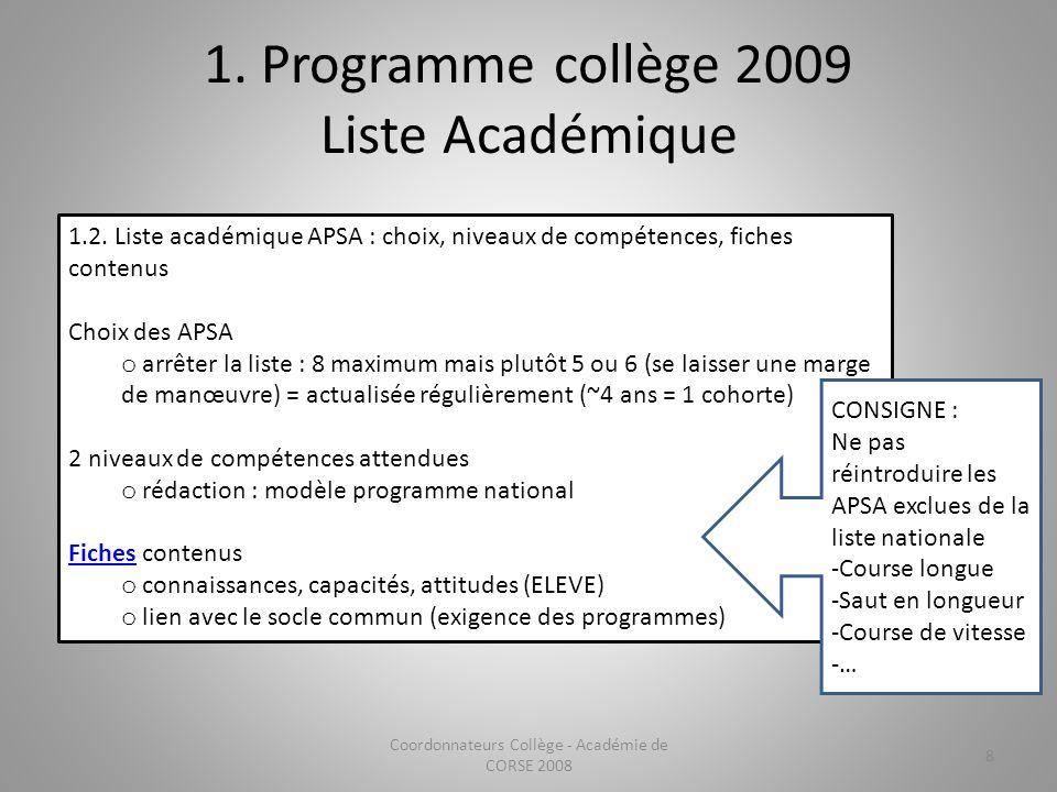 1. Programme collège 2009 Liste Académique