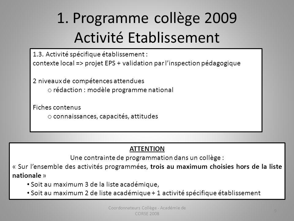 1. Programme collège 2009 Activité Etablissement