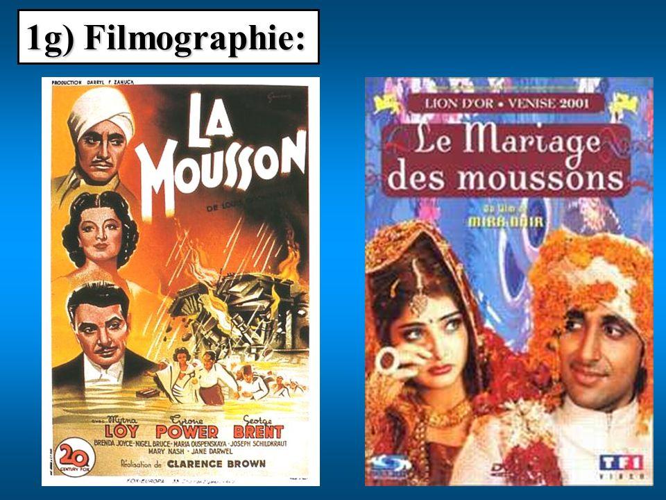 1g) Filmographie: