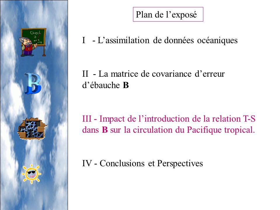 Plan de l'exposé I - L'assimilation de données océaniques. II - La matrice de covariance d'erreur d'ébauche B.