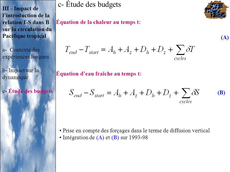 c- Étude des budgets III - Impact de l'introduction de la relation T-S dans B sur la circulation du Pacifique tropical.