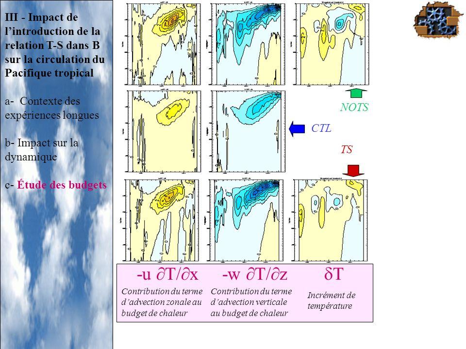 NOTSCTL. TS. III - Impact de l'introduction de la relation T-S dans B sur la circulation du Pacifique tropical.