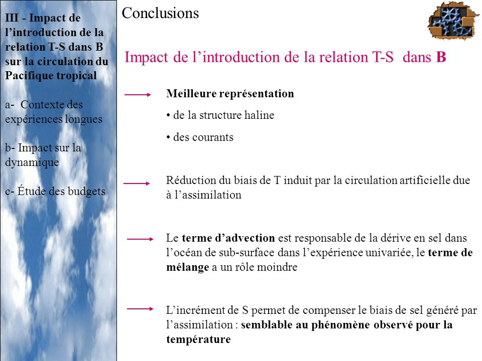 Impact de l'introduction de la relation T-S dans B