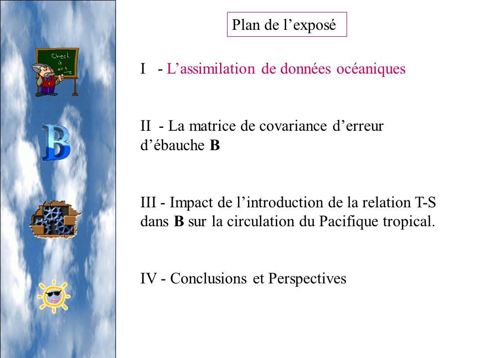 Plan de l'exposéI - L'assimilation de données océaniques. II - La matrice de covariance d'erreur d'ébauche B.