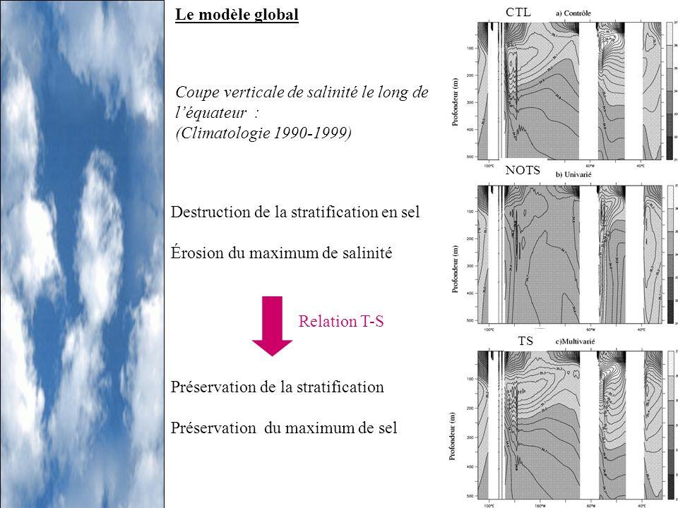 Coupe verticale de salinité le long de l'équateur :