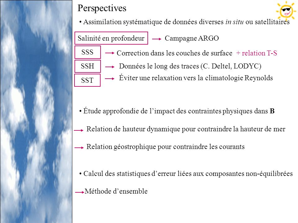 PerspectivesAssimilation systématique de données diverses in situ ou satellitaires. Étude approfondie de l'impact des contraintes physiques dans B.