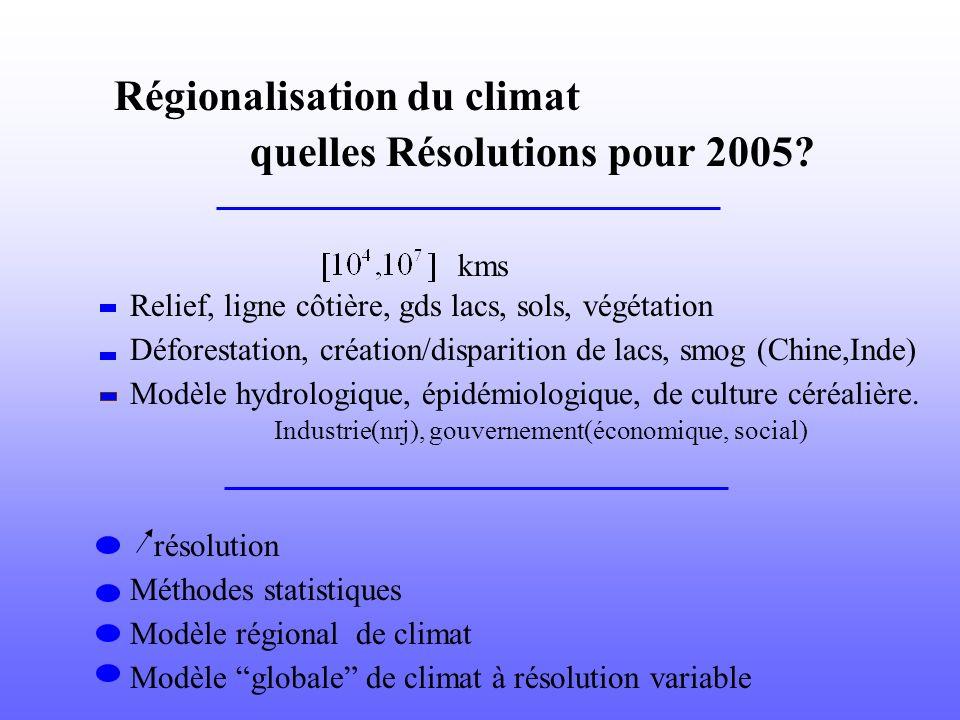 Régionalisation du climat quelles Résolutions pour 2005