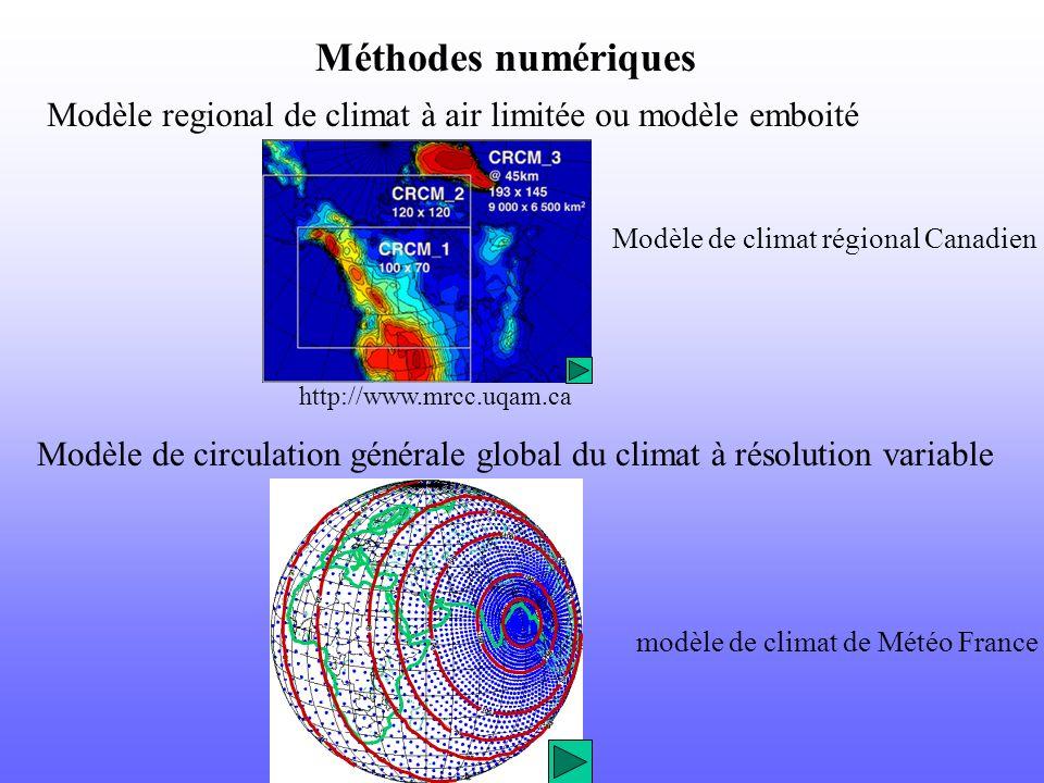 Méthodes numériques Modèle regional de climat à air limitée ou modèle emboité. Modèle de climat régional Canadien.
