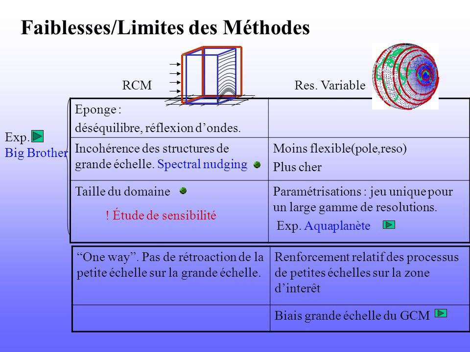Faiblesses/Limites des Méthodes