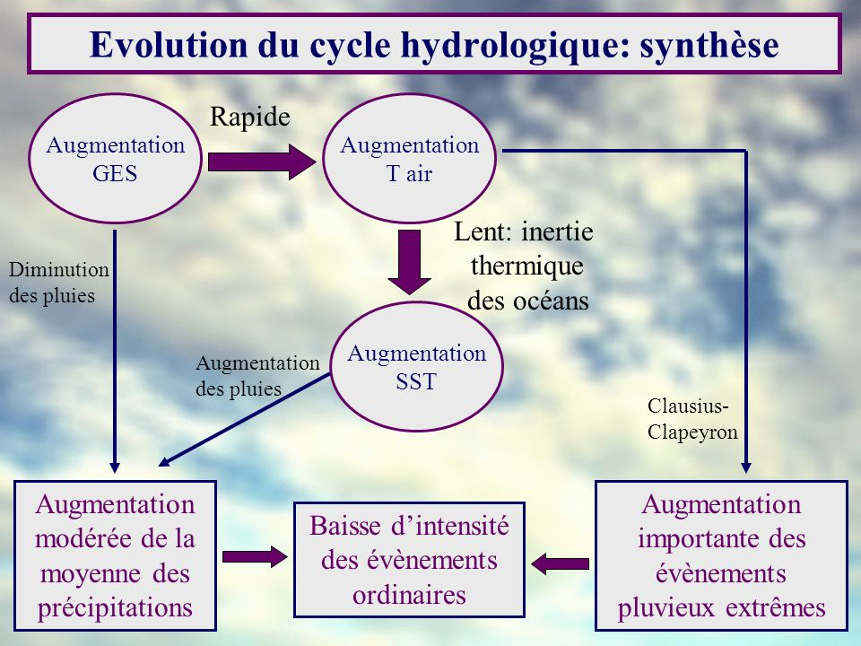 Evolution du cycle hydrologique: synthèse