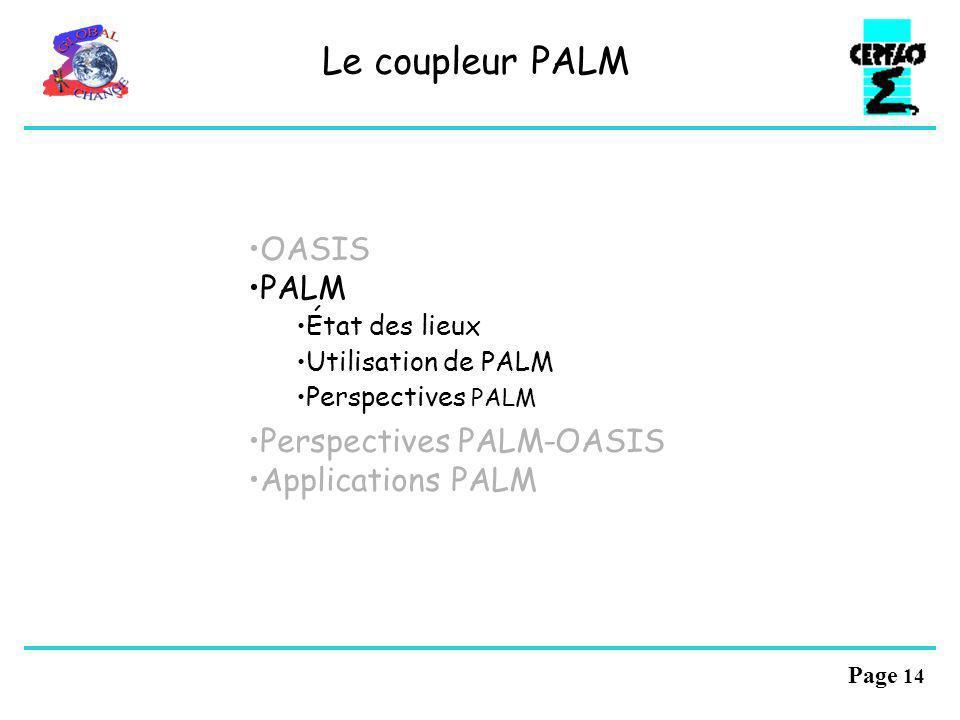 Le coupleur PALM OASIS PALM Perspectives PALM-OASIS Applications PALM