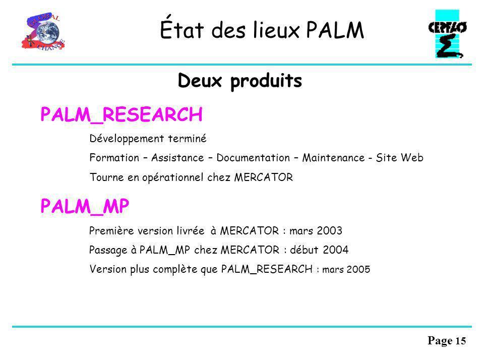 État des lieux PALM Deux produits PALM_RESEARCH PALM_MP