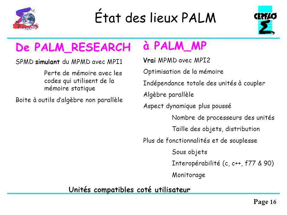 État des lieux PALM à PALM_MP De PALM_RESEARCH