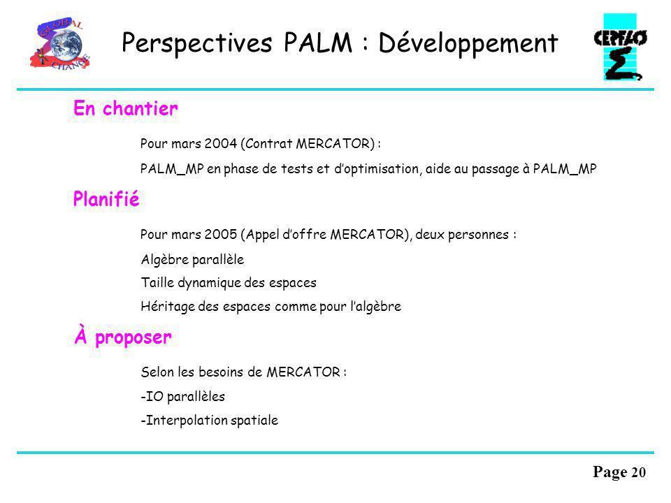 Perspectives PALM : Développement