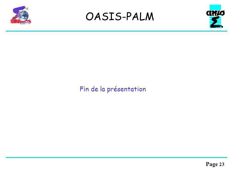 OASIS-PALM Fin de la présentation