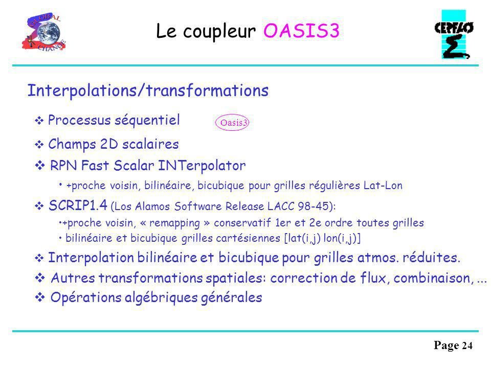 Le coupleur OASIS3 Interpolations/transformations